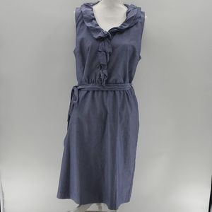 Ann Taylor Chambray Ruffle Front Belted Dress 14